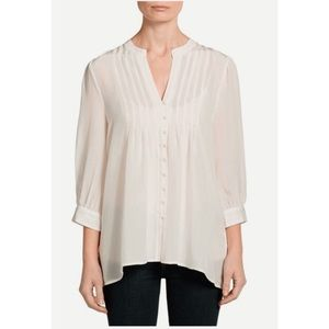 Joie Ivory Mesa Pleated Button Blouse A04-20729